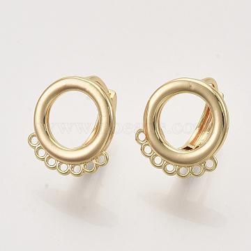 Conclusions de boucle d'oreille, avec boucle, anneau, sans nickel, véritable 18k plaqué or, 15.5x14x13.5mm, trou: 1 mm; broches: 1 mm(KK-T048-007G-NF)