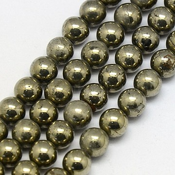 6mm DarkKhaki Round Pyrite Beads