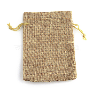 Polyester Imitation Burlap Packing Pouches Drawstring Bags, Peru, 9x7cm(X-ABAG-R005-9x7-15)