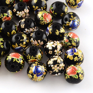 Mixed Flower Picture Printed Glass Round Beads, Black, 12mm, Hole: 1.5mm(GFB-R004-12mm-M21)