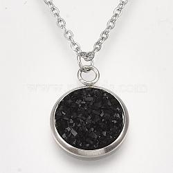 """Colliers avec pendentifs en 201 acier inoxydable, avec résine druzy, chaînes de câbles et pinces à homard, plat rond, noir, 15.7"""" (40 cm); 1.5mm; rond plat: 18x14x4mm(NJEW-T009-JN149-12)"""