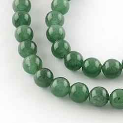 """Круглые натуральный зеленый авантюрин бисер пряди, 8 мм, Отверстие : 1 мм; около 50 шт / нитка, 15.7""""(G-R331-8mm-01)"""