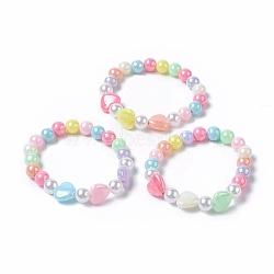 bracelets extensibles en perles acryliques pour enfants, avec perle d'imitation en plastique environnementale ronde et coeur en plaqué de couleur acrylique opaque, couleur mélangée, 1-5 / 8 (4.3 cm)(BJEW-JB04838-M)