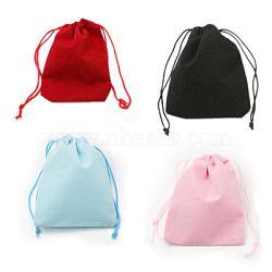 sacs à cordon en velours, sacs à bijoux, sacs-cadeaux de bonbons de mariage de fête de noël, couleur mélangée, 7x5 cm(TP-C001-50x70mm-M)