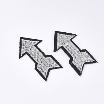 Computerized Embroidery Cloth Iron on/Sew on Patches, Appliques, Costume Accessories, Arrow, LightGrey, 36x65x1.5mm(X-FIND-T030-254)