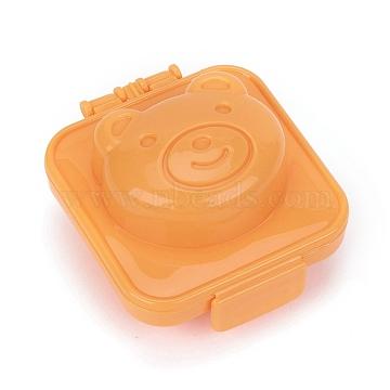 Bear Shape Cartoon Cute Boil Egg Sushi Rice Decorating Mold, Rice Ball Mold, Orange, 76.5x68.8x45.5mm(DIY-E034-07F)