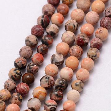Natural Leopard Skin Jasper Beads Strands, Round, 3~3.5mm, Hole: 0.7mm; about 115~125pcs/strand, 16 inches(G-K146-68-3mm)