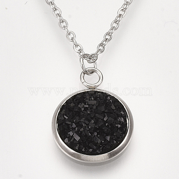 201 Stainless Steel Pendant Necklaces, with Druzy Resin, Cable Chains and Lobster Claw Clasps, Flat Round, Black, 15.7 inches(40cm), 1.5mm, Flat Round: 18x14x4mm(NJEW-T009-JN149-12)