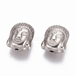 304 Stainless Steel Beads, Buddha Head, Stainless Steel Color, 11x9x6.5mm, Hole: 1.6mm(STAS-G218-18P)