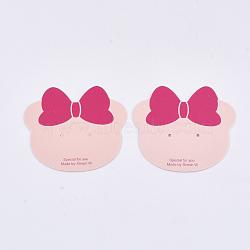 Cartes d'affichage de boucles d'oreilles en carton, chat, mistyrose, 5.2x6 cm(CDIS-T003-33)
