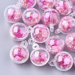 Пластиковые шариковые подвески, с сухими цветами, стразами и синтетической бирюзой, круглые, темно-розовые , 25.5x20x20 мм, отверстие : 2 мм(KY-T004-04C)
