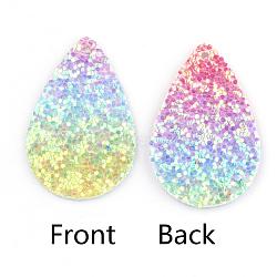 Pendentifs en cuir pu, avec des paillettes, larme, colorées, 39x25x2mm, Trou: 1.5mm(X-FIND-T020-026K)
