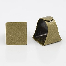 Brass Ring Shanks, Pad Ring Base Findings, For Jewelry Making, Adjustable, Square, Antique Bronze Color, Inner Diameter: 17x19mm, Tray: 19x20mm (X-KK-A017-AB)