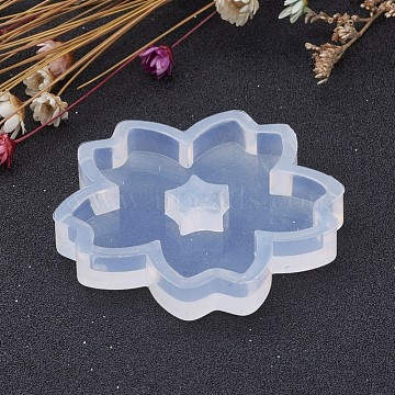 Flower Shape DIY Silicone Molds, Resin Casting Molds, For UV Resin, Epoxy Resin Jewelry Making, White, 52x7.5mm, Inner Size: about 46mm(X-AJEW-P035-06)