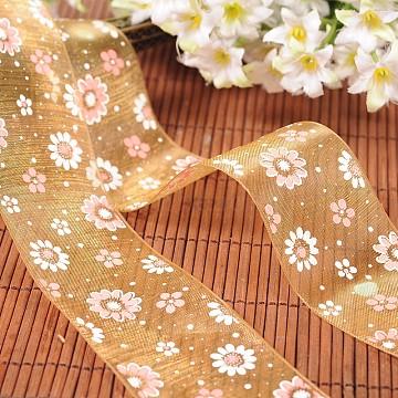 Flower Printed Organza Ribbons, Goldenrod, 1 inches(25mm), 200yards/roll(182.88m/roll)(ORIB-M006-25mm-02)