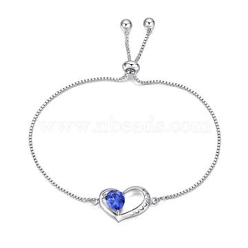 Eco-Friendly Electroplate Brass Slider Bracelets, Bolo Bracelets, with Cubic Zirconia, Heart, Platinum, 10-3/8 inch(26.5cm)(BJEW-EE0006-08P)
