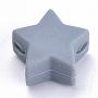 14mm Gris Ardoise Étoile  Silicone Perles(X-SIL-T041-08)