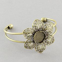 Латунные манжеты браслет материалы, филигрань цветочные браслеты заготовки, античная бронза, 63 mm ; лоток: 14 mm(MAK-S001-SZ019AB)