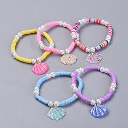 bracelets stretch enfants faits à la main en pâte polymère environnemental heishi perles, pendentifs paillettes en perles de verre et résine, coquille, couleur mélangée, 1-3 / 4 (4.5 cm)(BJEW-JB04345)