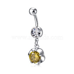 Piercing Jewelry, Environmental Brass Cubic Zirconia Navel Ring, Belly Rings, Flower, Platinum, Yellow, 41.5x13.5mm(AJEW-EE0006-21B)