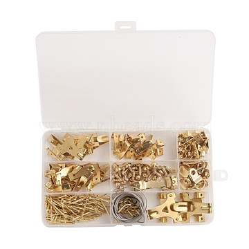 Assorted Picture Hanging Kit, Iron Nail Wall Hook Finding Sets, with Steel Wire, Screw, Nails, Sawtooth Hangers, Golden, 17.9x9.9x2.25cm, 230pcs/box(FIND-WH0052-26)
