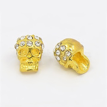 Zinc Alloy Beads, with Rhinestone, Halloween, Skull, Golden, 12x8mm, Hole: 3mm(X-RB-H143-2)