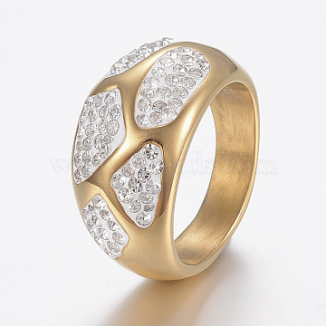 Vacuum Plating 304 Stainless Steel Finger Rings, Wide Band Rings, with Polymer Clay Rhinestones, Golden, Size 7, 17mm(RJEW-H125-73G-17mm)