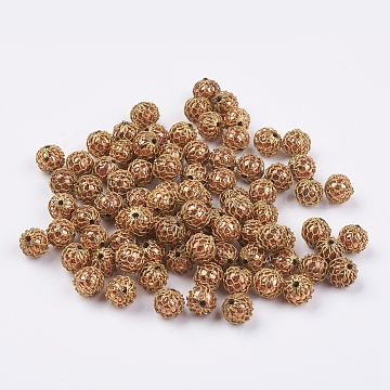 7mm Beige Round Brass Beads