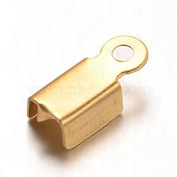 304 нержавеющая сталь складной обжима концов, золотые, 10x4x3 мм, отверстие : 1 мм(STAS-G170-14G)