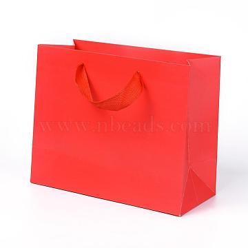 Sacs en papier kraft, avec poignées, sacs-cadeaux, sacs à provisions, rectangle, rouge, 18x22x10.2 cm(AJEW-F005-04-A)