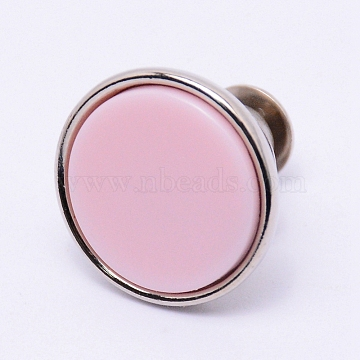 Alloy Jeans Buttons, with Resin, Garment Accessories, Flat Round, Pearl Pink, 16x15mm, Pin: 1.2mm, Hole: 1.2mm(PJ-TAC0003-01P-11)