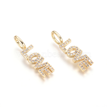 Brass Micro Pave Clear Cubic Zirconia Pendants, Word Love, for Valentine's Day, Golden, 24x6.5x2.5mm, Hole: 3.5x5.5mm(X-ZIRC-L085-41G)
