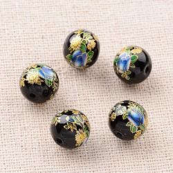 Image de fleur en verre imprimé perles rondes, noir, 10mm, Trou: 1mm(GLAA-J087-10mm-A08)