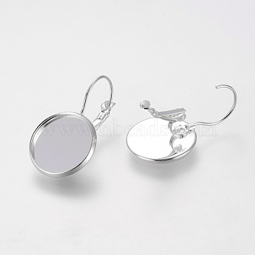 Brass Leverback Earring Findings, Nickel Free, Silver Color Plated, 30x18mm; Tray: 16mm(X-KK-C1244-16mm-S-NF)