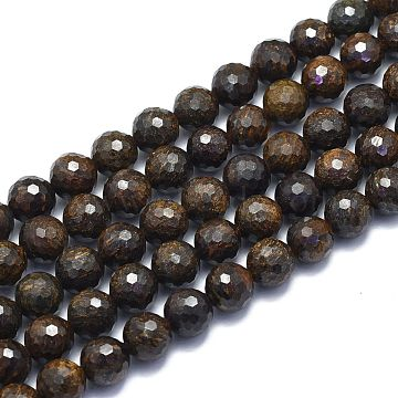 Natural Bronzite Beads Strands, Round, Faceted(128 Facets), Alice Blue, 10mm, Hole: 1.2mm; about 38pcs/strand, 15.55 inches(39.5cm)(G-K310-A13-10mm)