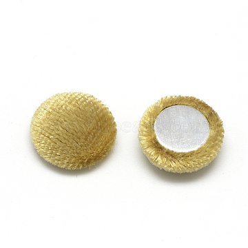 Velvet Cloth Fabric Covered Cabochons, with Aluminum Bottom, Half Round/Dome, Gold, 26~26.5x6.5mm(X-WOVE-S084-12F)