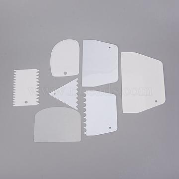 Plastic Baking Edge Dough Scraper, Cutter Pastry Spatulas, Cake Decoration Baking Tools, White, 88.5~120x76~187x0.3~4mm; 7pcs/set(DIY-E034-09)