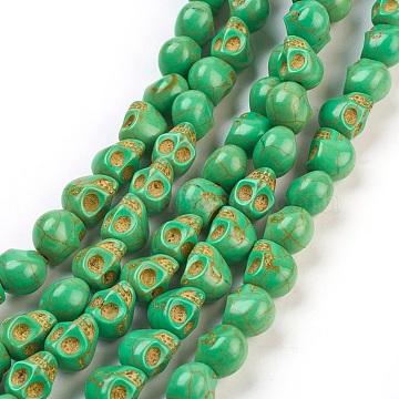 9mm LimeGreen Skull Howlite Beads