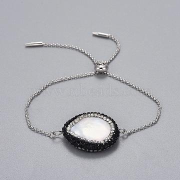 Brass Slider Bracelets, Bolo Bracelets, with Polymer Clay Rhinestones Shell Beads, Platinum, 9-3/4 inches(24.8cm); 1.3~1.6mm(BJEW-JB04286-02)