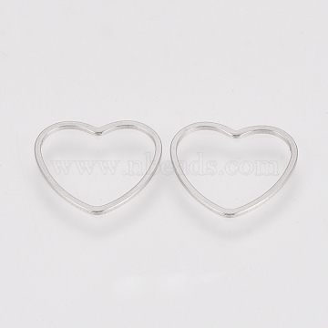 304 Stainless Steel Linking Ring, Heart, Stainless Steel Color, 14x15.5x0.8mm(X-STAS-S079-22A)
