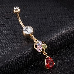Piercing Jewelry, Brass Cubic Zirconia Navel Ring, Belly Rings, with Use Stainless Steel Findings, Cadmium Free & Lead Free, Real 18K Gold Plated, teardrop, Red, 50x8mm(AJEW-EE0003-29D)