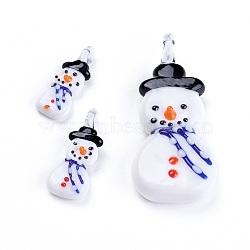 Ensembles de pendentif au chalumeau fait main, faire des boucles d'oreilles et des colliers, bonhomme de neige, blanc, 60x23mm, trou: 5 mm; 35x12 mm, trou: 3 mm; 3 pcs / ensemble (X-LAMP-60x23-A)
