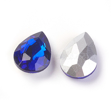 Glass Pointed Back Rhinestone, Back Plated, Faceted, Teardrop, Royal Blue, 14x10x5mm(X-RGLA-Q001-12)