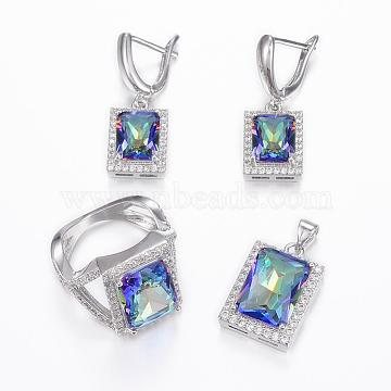 Brass Micro Pave Cubic Zirconia Jewelry Sets, Pendants & Hoop Earrings & Finger Rings, Rectangle, Platinum, Colorful, Size 10(20mm); 25x13.5x7mm, Hole: 5x3.5mm; 31x11x16mm, Pin: 1mm(SJEW-H078-20mm-33)