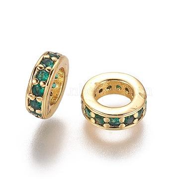 Brass Cubic Zirconia European Beads, Large Hole Beads, Ring, Golden, Teal, 7.5x2.5mm, Hole: 4.5mm(KK-E772-02C-G)