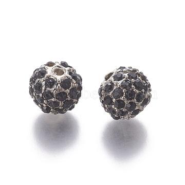 Alloy Rhinestone Beads, Round, Platinum, Black, Size: about 10mm in diameter, hole: 2mm.(X-ALRI-Q201-2)