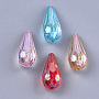 Transparent Acrylic Beads, AB Color, Faceted, Teardrop, Mixed Color, 25x11x11mm, Hole: 1.5mm