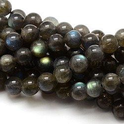 Grade AA Natural Gemstone Labradorite Round Beads Strands, 6mm, Hole: 1mm; about 62pcs/strand, 15.5 inches