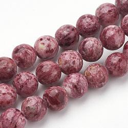 """Chapelets de perles en rhodonite naturelle, rond, 8mm, trou: 1mm; environ 50 pcs/chapelet, 15.7""""(G-S279-05-8mm)"""