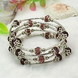 Bracelets enroulés à la mode, avec des perles de verre rondelles, Coupelles de style tibétain , laiton perles de tubes et de fils d'acier de la mémoire, violet, diamètre intérieur: 55 mm(X-BJEW-JB00628-02)